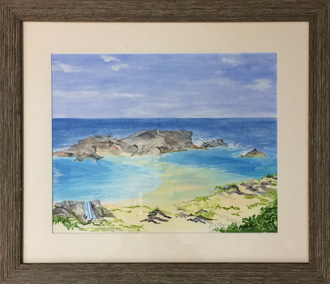 Mudjin Harbour - 21 x 18 - Framed watercolour - $325.00
