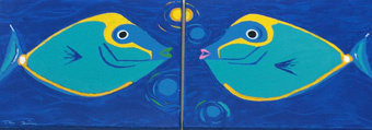 Kissing Fish - diptych - 20 x 16 each - Acrylic paint & palette knife - $695.00