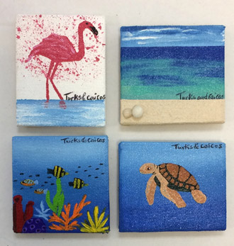 Hand-painted magnets - 3 x 3 - $22.00