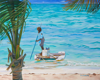 Liz Zahara Conch Fishing 20x16 - $750 - acrylic